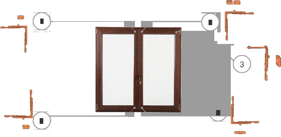Okna Samoraj finestra PVC antieffrazione 5 punti di chiusura antieffrazione