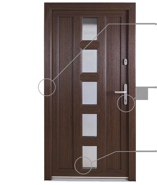 Okna Samoraj porta d'ingresso pvc, effetto legno