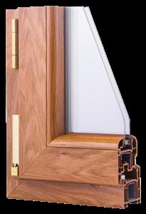 Okna Samoraj finestra pvc veka softline, classe A, effetto legno, 5 camere profilo arrotondato